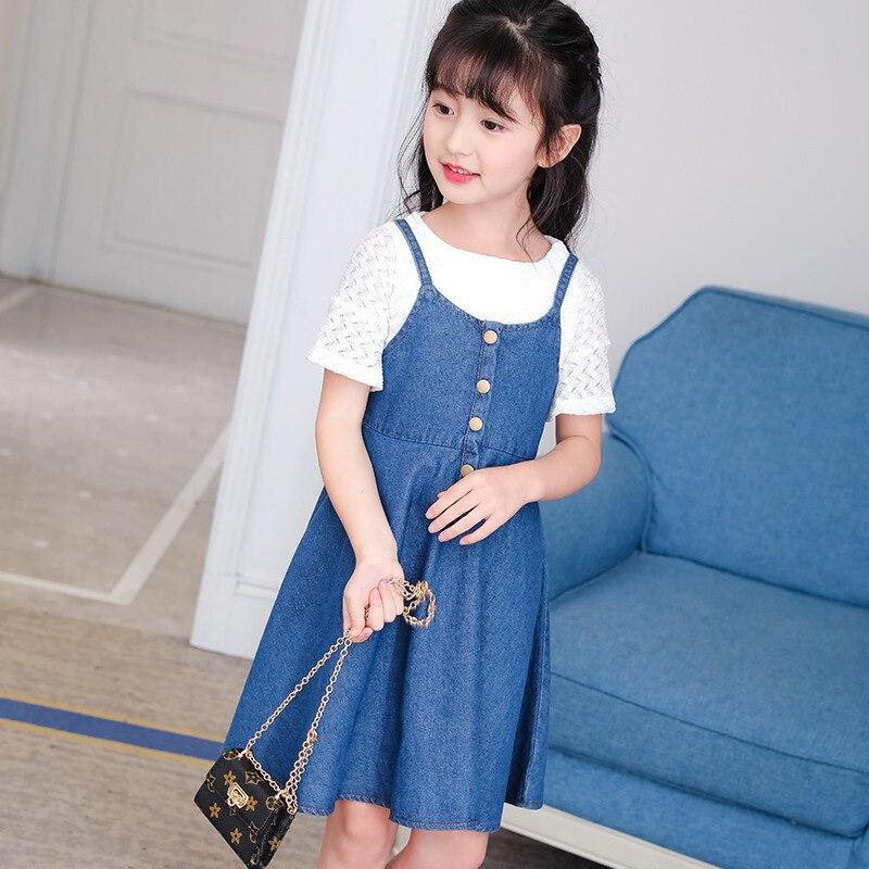 Childrens Garment Summer 2017 Child Cowboy Light Colour Camisole Dress New Pattern Korean 2 Pieces Kids Suits Clothing Sets<br>
