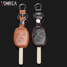 High quality Genuine Leather key chain ring cover case holder ,car styling For Honda CR-V Fit Pilot Honda Accord Civic ,3 Button(China)