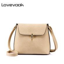 LOVEVOOK brand crossbody bags for women small shoulder bag female solid hasp handbag purse Black/Apricot/Blue(China)