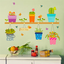 DIY Removable Wall Stickers Home Decor Potted Flower Pot Window Glass Decals Bonsai Birds Butterfly Mural Decoratie Decor(China)