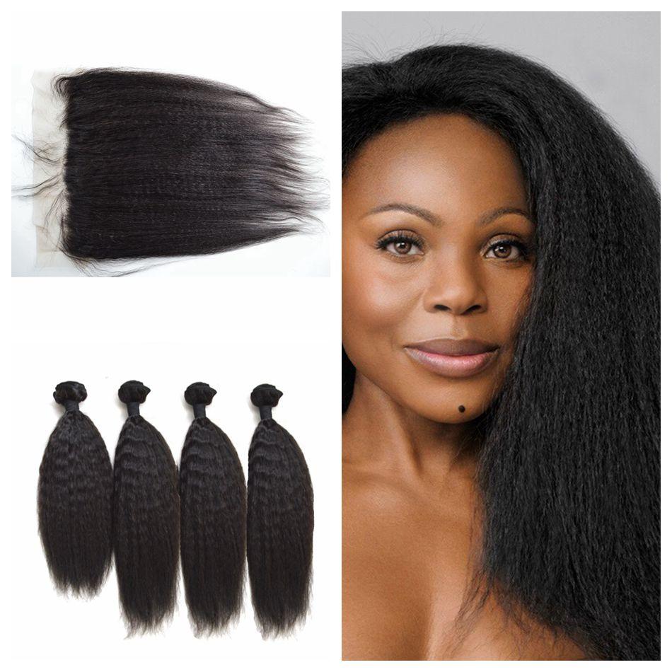 DHL FREE 13X4 Silk Base Lace Frontal Closure With Indian Kinky Straight Human Hair 4 Bundles Virgin Indian Italian Yaki Hair<br><br>Aliexpress