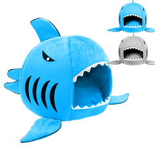 Cute  Shark Round House Puppy Bed for Small Cat Dog Cave Removable Cushion Pet Collapsible Indoor House Bed Shelter