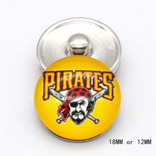 MLB Pittsburgh Pirates snap DIY Sport Glass Snaps buttons 18mm 12mm fit  snap Leather bracelet  best baseball fans gift