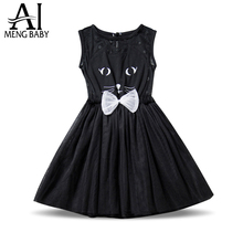 2017 Summer Brand Girls Dress Cat Kids Party Dresses for Girls Lovely Baby Birthday Outfits Fancy Children School Clothes(China)