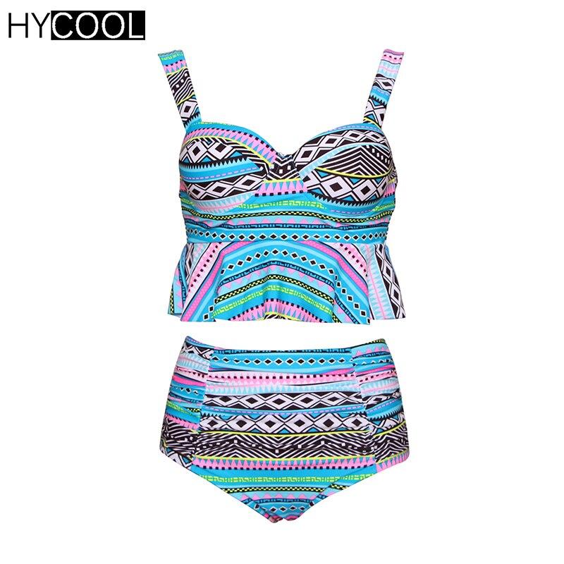 HYCOOL New Bikini Set Swimsuit 2017 for Women Retro Print Bathing Suit Flounce Female Swimsuit Ruffled Women Swimwear Biquini<br>