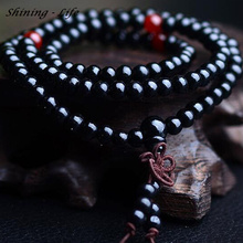 Vintage Sandalwood Buddhist Buddha Meditation 6mm 108 beads Wood Prayer Bead Mala Bracelet Women Men jewelry(China)