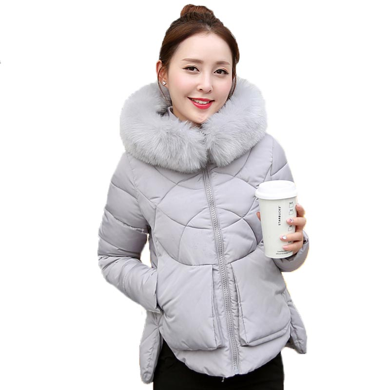 2017 New Arrival Winter Jacket Women Fur Collar Hooded Thick Down Cotton Coat Irregular Hem Slim Outerwear Coats PW0198Одежда и ак�е��уары<br><br><br>Aliexpress