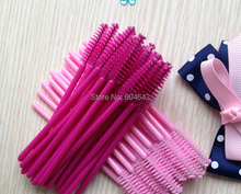 100pcs/lot  make up brush synthetic fiber Disposable Eyelash Brush Mascara Applicator Pink mascara brush  and Rose red brush