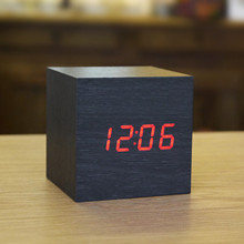 2016 New Wood Square LED Alarm Digital Desk Clock Wooden Thermometer USB/AAA Thermometer Date Display Vioce Touch Activated(China)