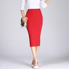 2017 Spring Autumn Long Pencil Skirts Women Sexy Slim Package Hip Maxi Skirt Lady Winter Sexy Chic Wool Rib Knit midi Skirt Saia(China)
