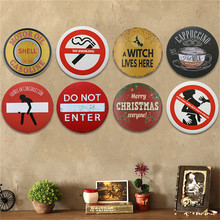 Round Retro Metal Plaques Vintage Metal Tin Signs Poster For Coffee Bar Decorative Iron Wall Art Merry Christmas Ornaments(China)