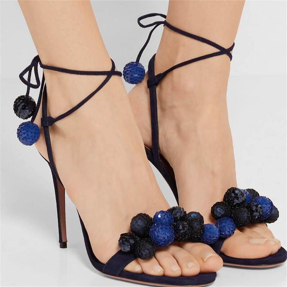 3 style pompom Sequined ball Multi Coloured Sandals Strappy ankle strap Womens Fashion Wedding bridesmaid Strappy Pumps blue <br><br>Aliexpress