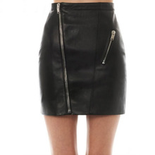 Women Zipper Up Faux Leather Skirt Polyester Lining Fashion Sexy PU Mini Skirt With Two Pockets High Quality