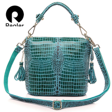 REALER brand genuine leather handbag women small tote bag shoulder bags ladies classic serpentine pattern leather bucket bag(China)