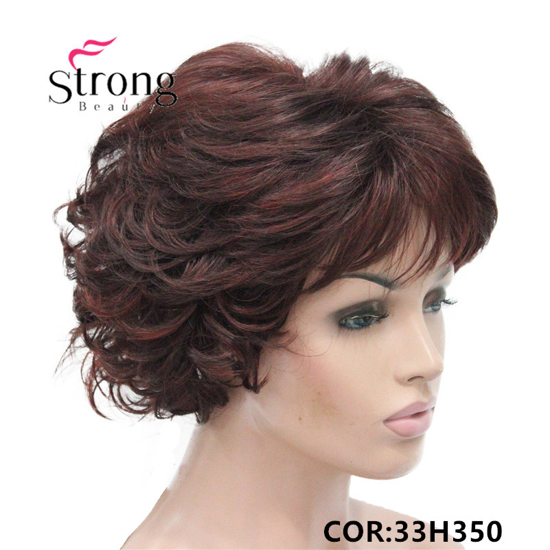 E-7125 #33H350 New Wavy Curly Auburn Mix Red Short Synthetic Hair Full Women's daily Party Wig (3)_