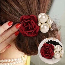 1PC Women Lady Hair Ring Fashion Satin Ribbon Rose Flower Pearls Hairband  Tie Head Ornaments Ponytail Holder Hair Band Hairpin