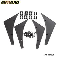 AUTOFAB - 4x Universal Paintable Front Bumper Lip Canard Splitters Fins Universal Valence Chin AF-FD001