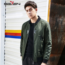 Seven7 Brand Bomber Jacket Men Winter Jacket Parka Coat Slim Fit Black Army Green Color Hip Hop Male Clothing 2017 New 113K28350(China)