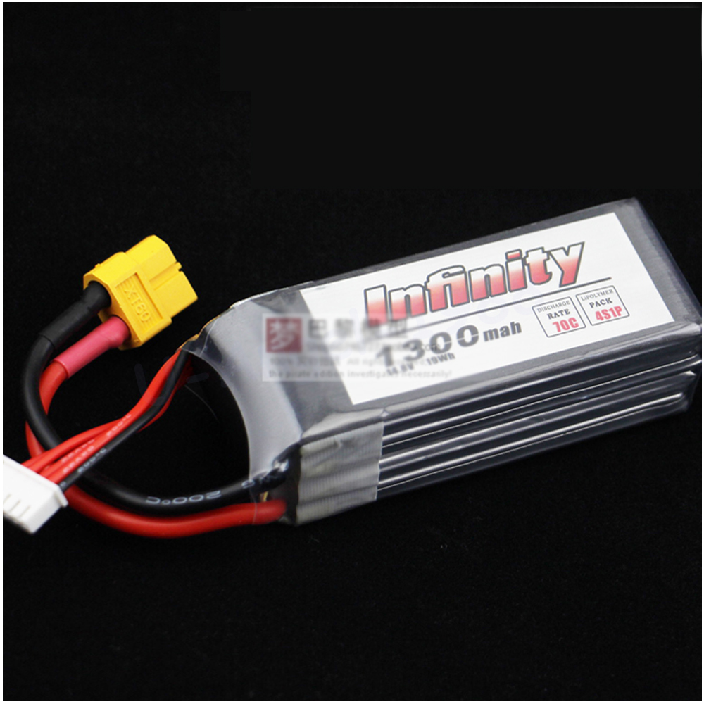 1pc Infinity Rechargeable Lipo Battery 4S 14.8V 1300mAh 70C Graphene LiPo Battery XT60 Support 15C Boosting Charge RC Quadcopter<br><br>Aliexpress