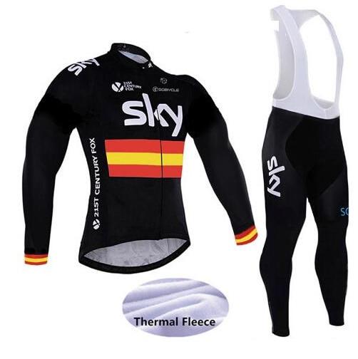 2015 hot winter SKY radfahren jersey pro bike pants set Ropa Ciclismo mens thermo-fleece radfahren tragen fahrrad Maillot hoses<br>