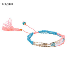 KELITCH Jewelry 1Pcs Natural Freshwater Pearl Beads&Multicolor Import Beads Tassel Strand Bracelet For Summer Handmade Pulsera(China)