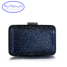 High Quality Large Square Hard Box Clutch Navy Crystals Evening Bags for Matching Shoes and Womens Wedding Prom Evening Party