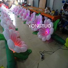 7m length with 7pcs color-changing led lights inflatable flower chains for wedding decoration(China)