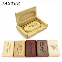 JASTER (over 10 PCS free LOGO) customer Wooden USB Flash Drive Memory Stick + Packing Box pendrive 8GB 16GB 32GB wedding gift