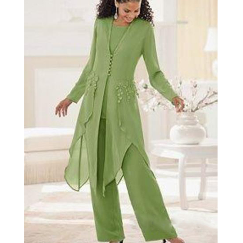 Mother Of The Bride Dresses Suit With Pants Jacket Chiffon Wedding