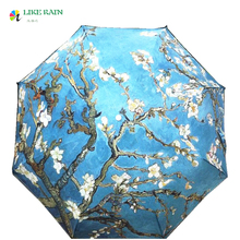 LIKE RAIN 2017 New Abstract Oil Painting Arts Umbrella Creative Van Gogh Apricot Flowers Umbrella Rain Women Parasol YHS08