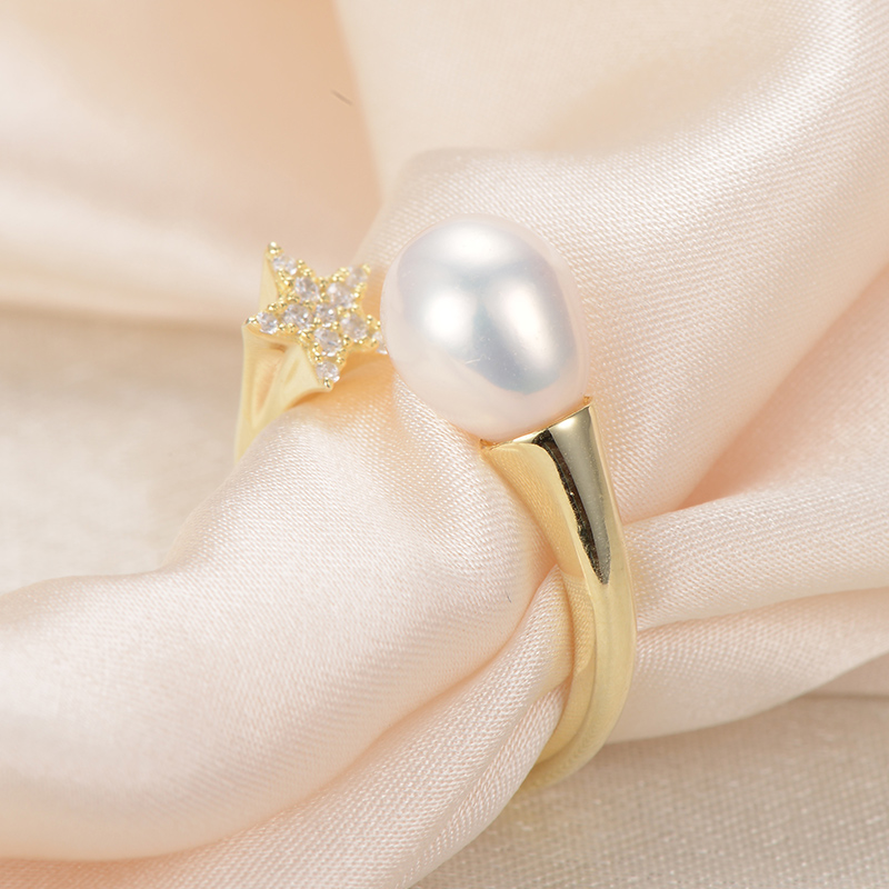gNpearl Lotus White Natural Freshwater Pearl Ring  925 Sterling Silver  Women Ring Trendy Design Waterdrop natural pear Jewelry