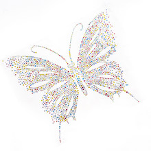 Butterfly Design Embellishment Colorful Transfer Rhinestone Motif Hotfix  Iron Sewing on Patches For Sweater Shoes( d33624170818