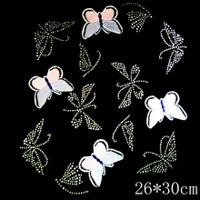 10pcs/Lot Wholesale NEW Pattern Butterfly 101 #   Rhinestone Diamante Transfer Iron On Hotfix  Gem Crystal  Motif Patch  Bling