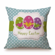 Personalized Happy Easter Square Cushion Cases Custom Bed Decoration Canvas Printing Floral Cushion Cases(China)