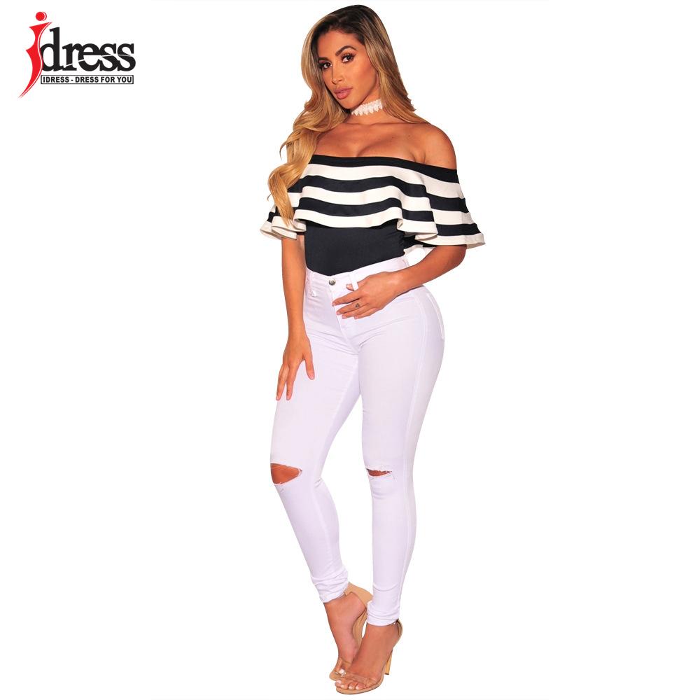 IDress Black and White Striped Bodysuit Women 2017 Summer Ruffles Strapless Off Shoulder Romper Backless Bodycon Women Jumpsuit (5)