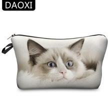 DAOXI Cute Cosmetic Bags Cat 3D Printing Gift Necessaries for Makeup Organizer Ladies Polyester 10005