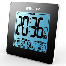 BALDR Thermometer Blue Backlight LCD Table Calendar Time Watch Desk Digital Snooze Alarm Clock Indoor Temperature Sensor Meter
