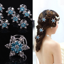 20 PCS Wedding Party Bridesmaid Hair Jewelry Bridal Bride Silver Blue Crystal Spiral Hair Pin Clips Snowflake Hair Accessories