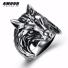 AMOURJOUX Punk Wolf Head 316L Stainless Steel Wedding Rings For Women Men Fashion Unisex Party Ring(China)