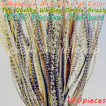"100pcs Wholesale 6""-12"" Real Whiting Hair Rooster Feathers Ombre Grizzly Natural Color Hair Styling Party Extensions Accessories"