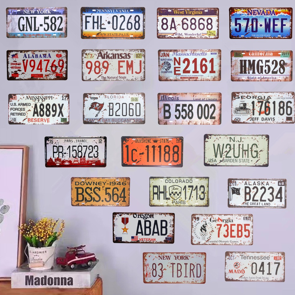 Style Black White Wholesale Novelty License Plate Bar Wall Decor