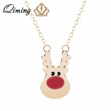 QIMING Winter Christmas Day Gift Lovely Gold Deer Necklace Red Nose Deers Head Silver Animal Necklace Cute Jewelry Accessories(Hong Kong)
