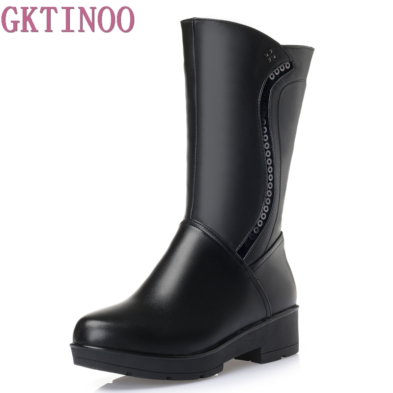 High Quality Snow Boots Women Soft Leather Knee Winter Boots Comfortable Warm Fur Women Long Boots Shoes Big Size 35-43<br>