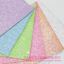 6pcs--20x22cm fluo light color CHUNKY glitter LEATHER/Synthetic leather can choose color(China)