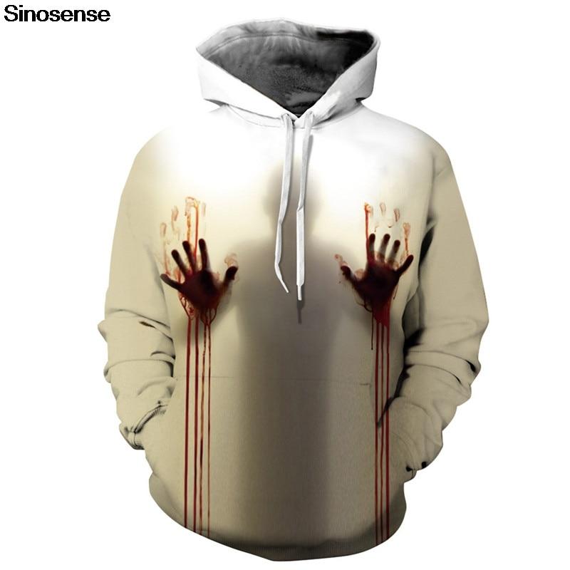 New Autumn 3d Print Hoodies Men Women Blood Handprints Design Loose Fashion Moletom Feminino Leisure Streetwear Tracksuits Hoodies & Sweatshirts