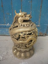 Rare old Ming Dynasty copper censer/ incense stove,with carving &mark,Hollow dragon,Free shipping(China)