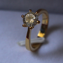 1CT Solid 24K Yellow Gold Plated Jewelry Classic Ring Prongs Setting SONA Simulate Diamond Engagement Necessary Jewelry Silver(China)