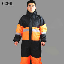 CCGK Winter working clothing outdoors thermal protection uniforms mens cotton wadded padded safety clothing thick warm work wear(China)