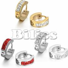2017 Fashion Small Hoop Earrings Round Crystal CZ Stone Rhinestone Hoop Earings For Men Women pendientes aro Red/ Gold/ Silver(China)