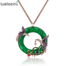 LUOTEEMI New Design Atmosphere Elegant Big Round CZ Pendant with Mirco 2pcs Multi Phoenix Zircon Jewelry  Rose&White Gold Color
